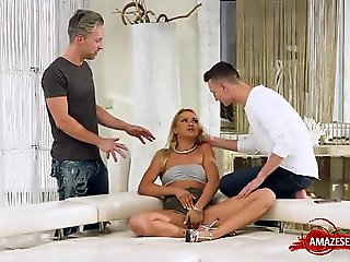 european, threesome, creampie